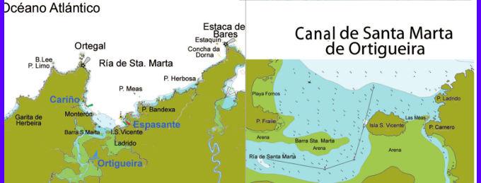Cabo Ortegal Mapa Fisico.Entrada Al Puerto De Ortigueira Carino Costa Oriental De