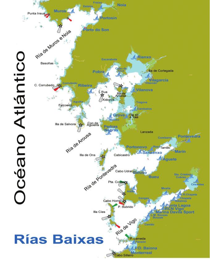 Mapa De Rias Bajas.Generalidades De Las Rias Baixas Coruna Derroteros Guias Portada Masmar